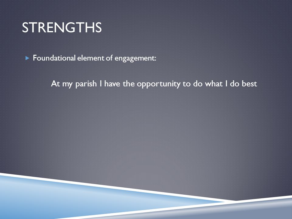 STRENGTHS  Foundational element of engagement: At my parish I have the opportunity to do what I do best