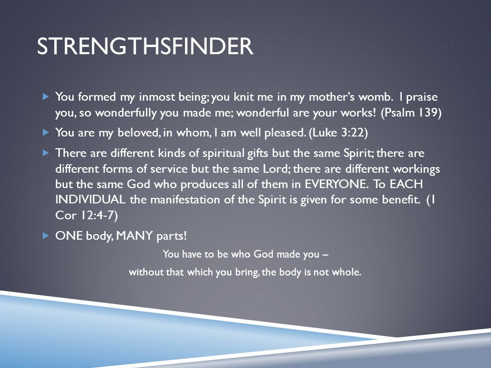 STRENGTHSFINDER  You formed my inmost being; you knit me in my mother's womb.