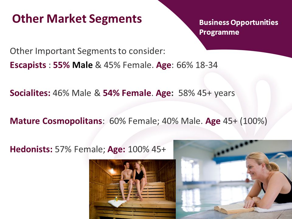 Other Market Segments Other Important Segments to consider: Escapists : 55% Male & 45% Female.