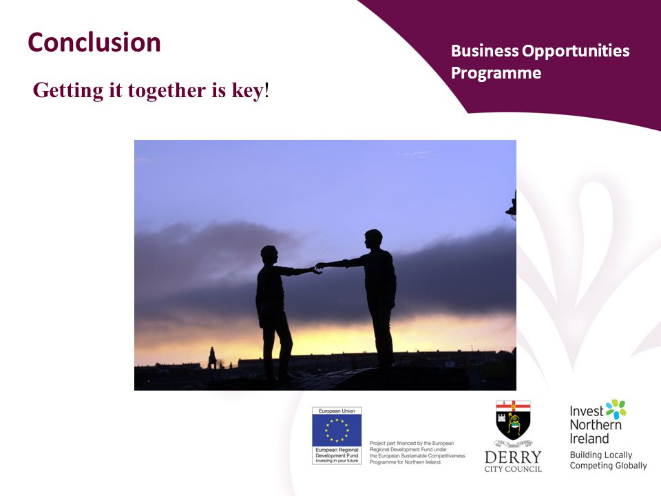 Conclusion Business Opportunities Programme Getting it together is key!
