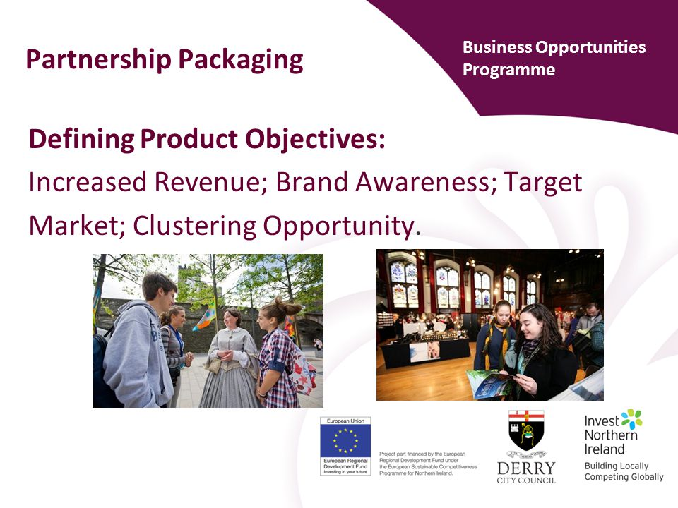 Partnership Packaging Identify Potential Partners Aligned objectives; financial benefits; profitable to all.