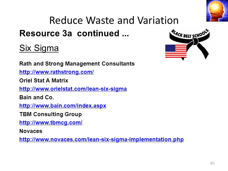 Reduce Waste and Variation 40 Resource 3a continued...