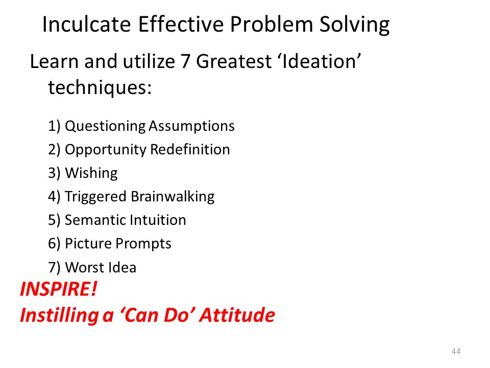 Learn and utilize 7 Greatest 'Ideation' techniques: 1) Questioning Assumptions 2) Opportunity Redefinition 3) Wishing 4) Triggered Brainwalking 5) Semantic Intuition 6) Picture Prompts 7) Worst Idea 44 Inculcate Effective Problem Solving INSPIRE.