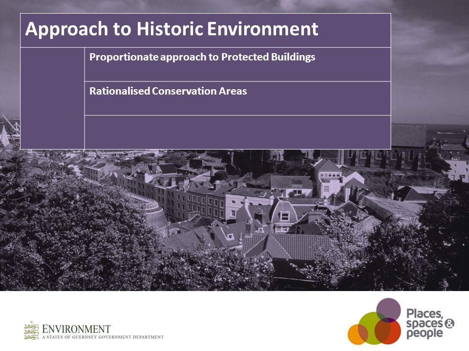 Approach to Historic Environment Proportionate approach to Protected Buildings Rationalised Conservation Areas
