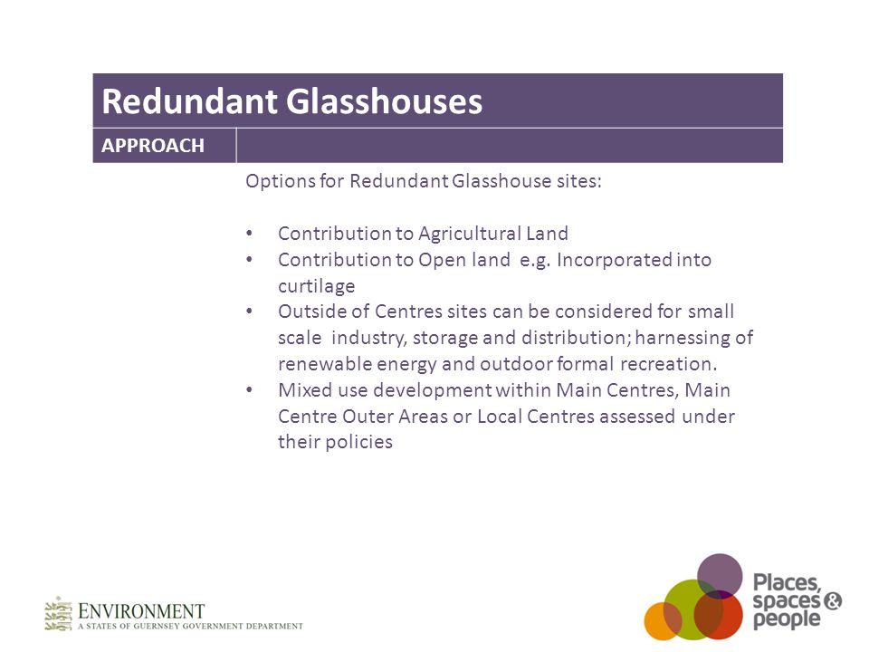 Redundant Glasshouses APPROACH Options for Redundant Glasshouse sites: Contribution to Agricultural Land Contribution to Open land e.g.