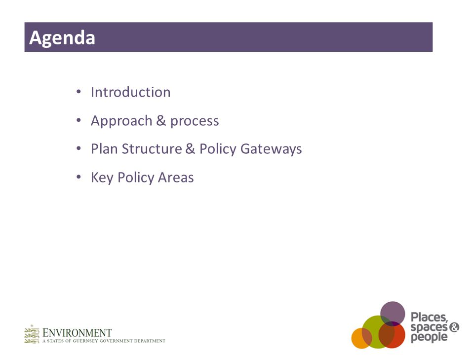 Introduction Approach & process Plan Structure & Policy Gateways Key Policy Areas Agenda