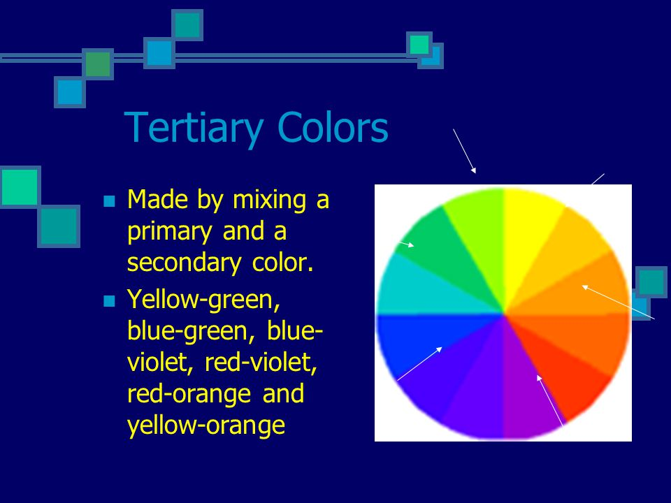 Complimentary Colors Colors opposite each other on the color wheel.