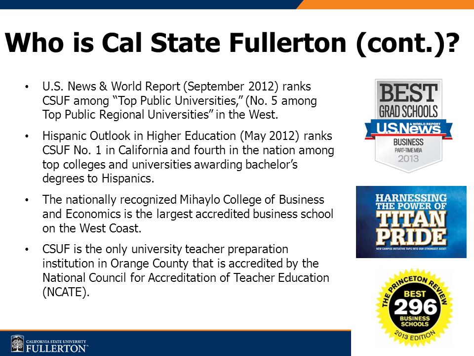 Who is Cal State Fullerton (cont.). U.S.