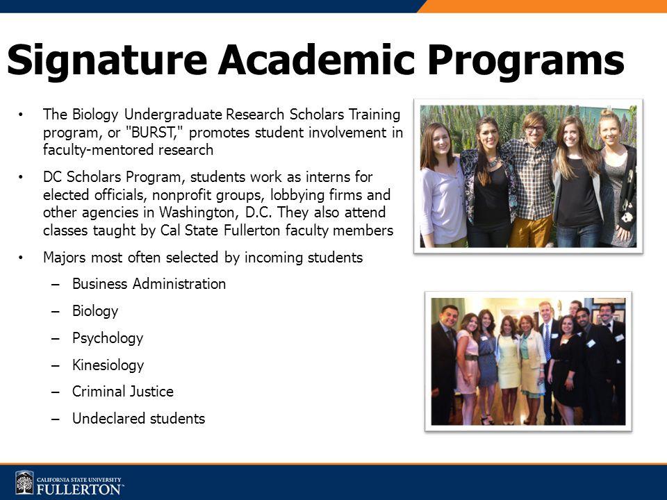 Signature Academic Programs The Biology Undergraduate Research Scholars Training program, or