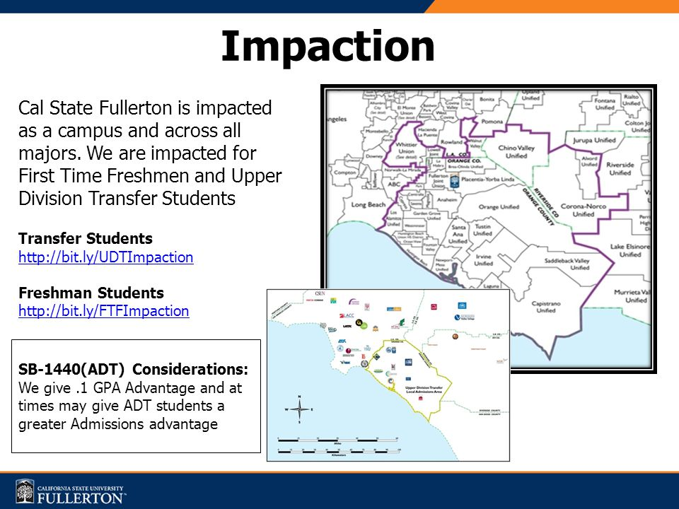 Cal State Fullerton is impacted as a campus and across all majors.