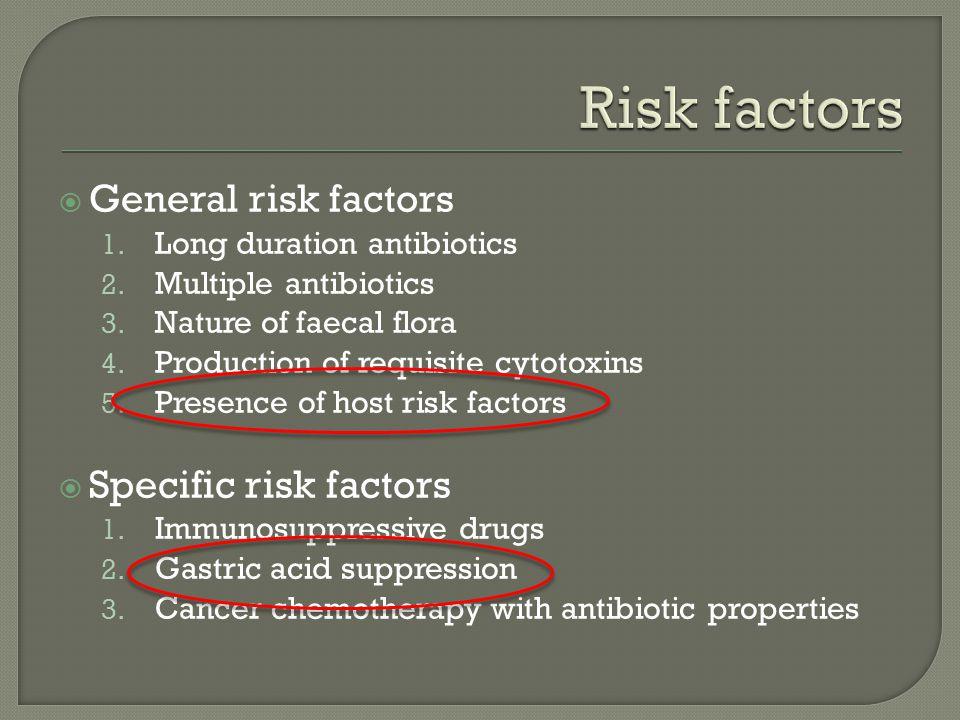  General risk factors 1. Long duration antibiotics 2.