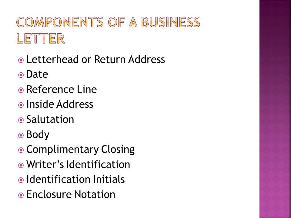  Letterhead or Return Address  Date  Reference Line  Inside Address  Salutation  Body  Complimentary Closing  Writer's Identification  Identi