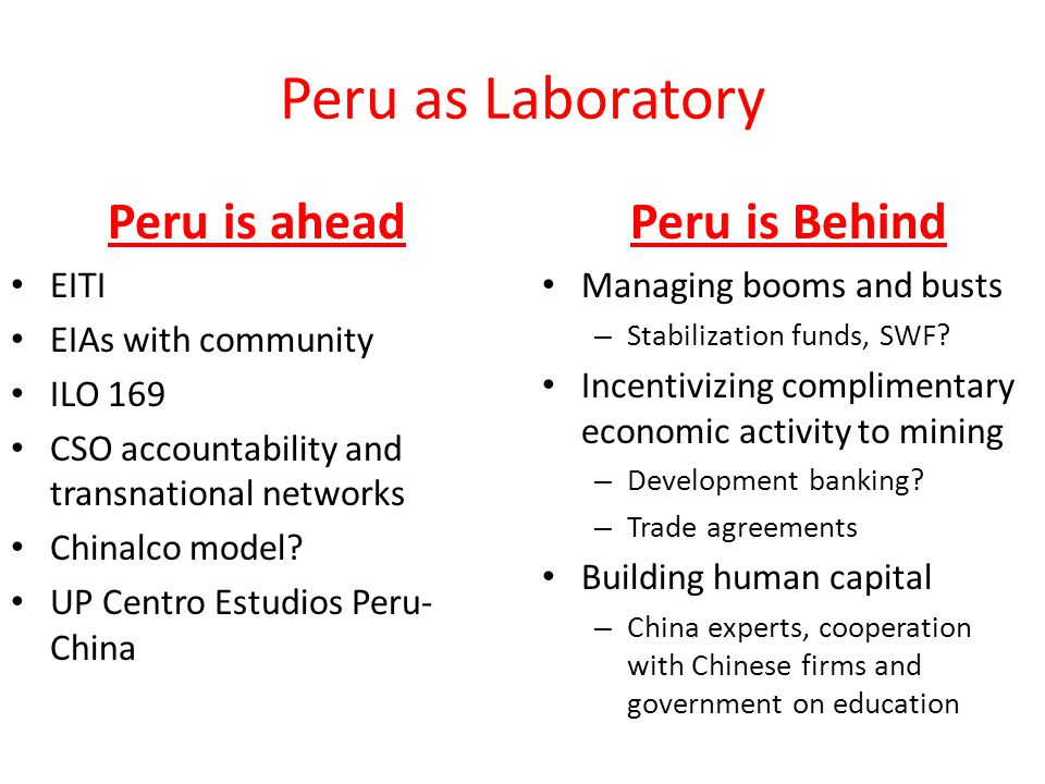 Peru as Laboratory Peru is ahead EITI EIAs with community ILO 169 CSO accountability and transnational networks Chinalco model.