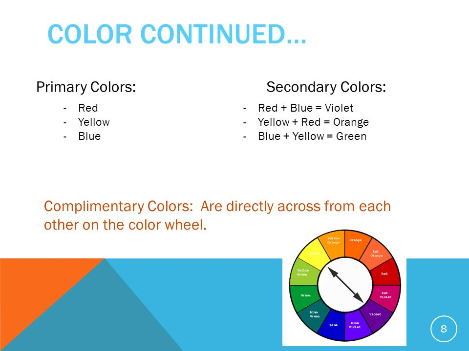 COLOR CONTINUED… 8 Primary Colors:Secondary Colors: -Red -Yellow -Blue -Red + Blue = Violet -Yellow + Red = Orange -Blue + Yellow = Green Complimentary Colors: Are directly across from each other on the color wheel.