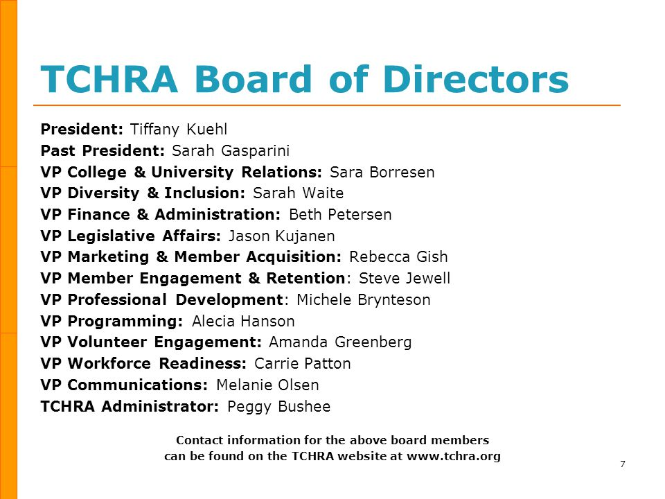TCHRA Historical Timeline 8 TCPMA Twin Cities Personnel Management Association 267 Members 116 Companies TCPA Twin Cities Personnel Association 500 Members 225 Companies TCHRA Twin Cities Human Resources Association 1100 Members 376 Companies 1951 19611962199719732011 60 Years of Service!