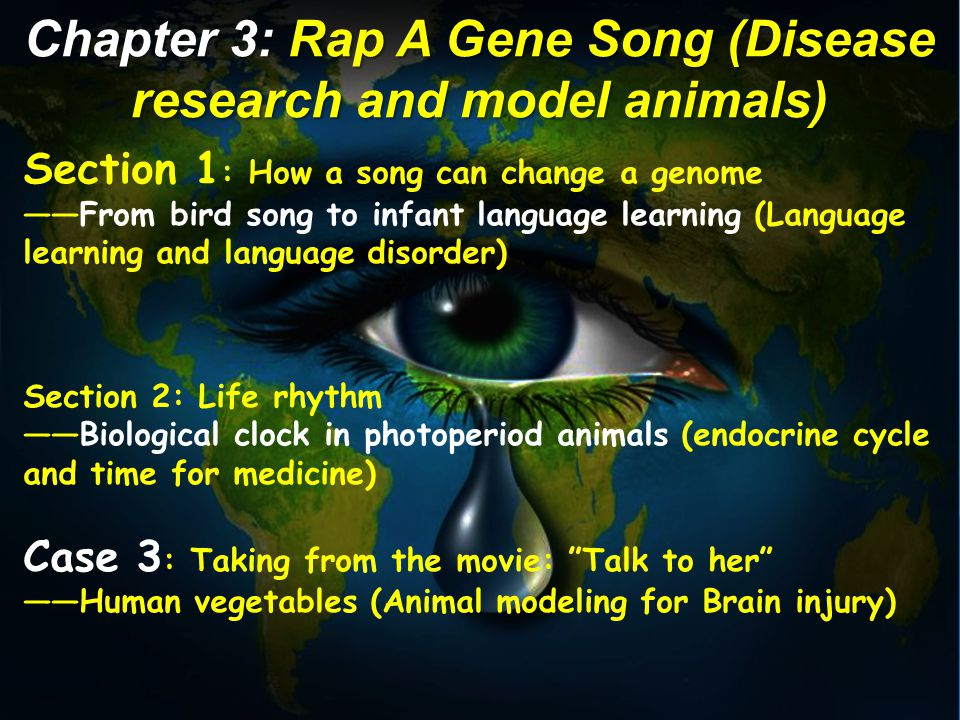 Section 1 : How a song can change a genome ——From bird song to infant language learning (Language learning and language disorder) Section 2: Life rhythm ——Biological clock in photoperiod animals (endocrine cycle and time for medicine) Case 3 : Taking from the movie: Talk to her ——Human vegetables (Animal modeling for Brain injury) Chapter 3: Rap A Gene Song (Disease research and model animals)