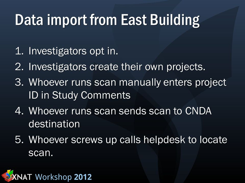 Data import from East Building 1.Investigators opt in. 2.Investigators create their own projects. 3.Whoever runs scan manually enters project ID in St