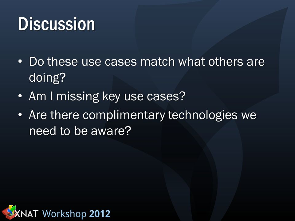 Discussion Do these use cases match what others are doing.