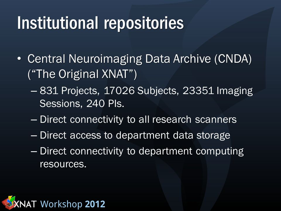"Institutional repositories Central Neuroimaging Data Archive (CNDA) (""The Original XNAT"") Central Neuroimaging Data Archive (CNDA) (""The Original XNAT"