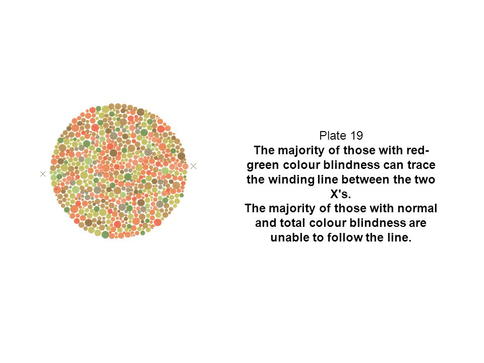 Plate 19 The majority of those with red- green colour blindness can trace the winding line between the two X's. The majority of those with normal and