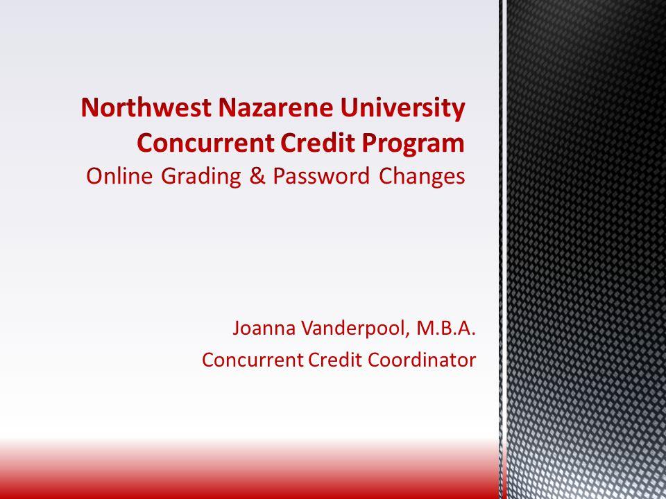 Joanna Vanderpool, M.B.A. Concurrent Credit Coordinator