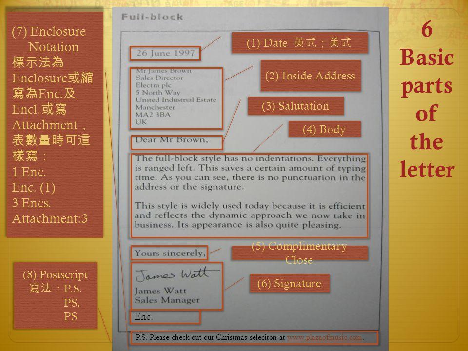 (1) Date 英式;美式 (2) Inside Address (3) Salutation (4) Body (5) Complimentary Close (6) Signature P.S.