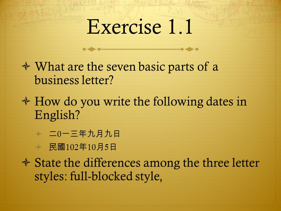 Exercise 1.1  What are the seven basic parts of a business letter.