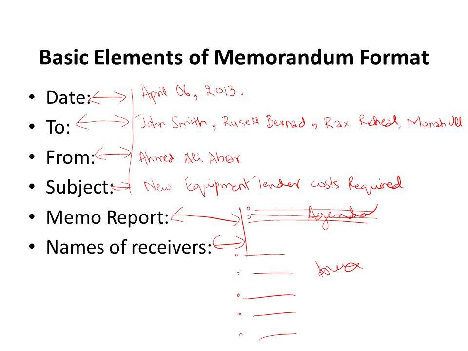 Basic Elements of Memorandum Format Date: To: From: Subject: Memo Report: Names of receivers: