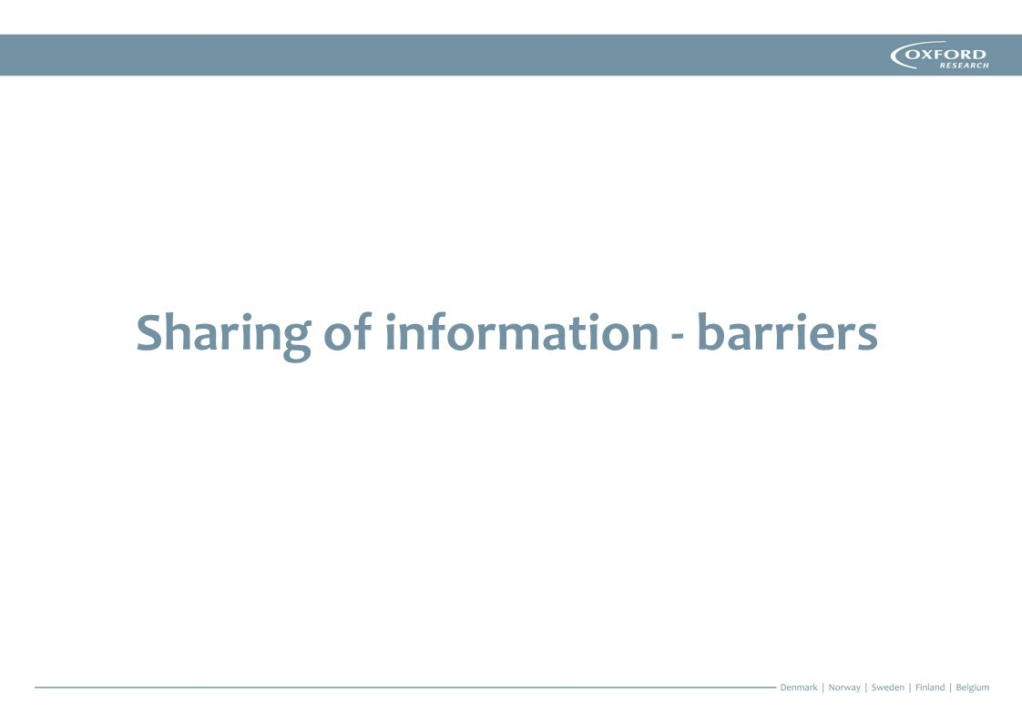 Sharing of information - barriers