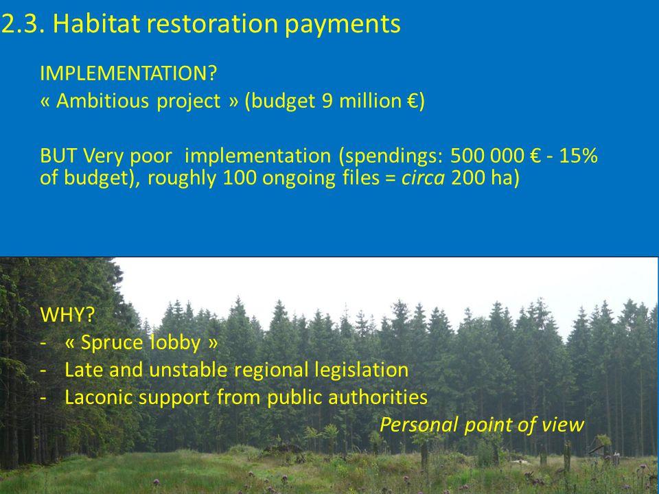 2.3. Habitat restoration payments IMPLEMENTATION.