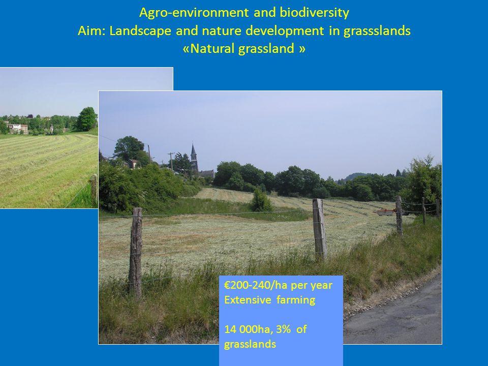 Agro-environment and biodiversity Aim: Landscape and nature development in grassslands «Natural grassland » €200-240/ha per year Extensive farming 14 000ha, 3% of grasslands