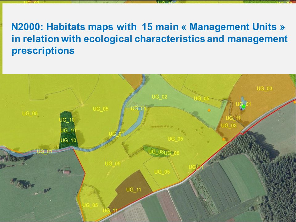 N2000: Habitats maps with 15 main « Management Units » in relation with ecological characteristics and management prescriptions
