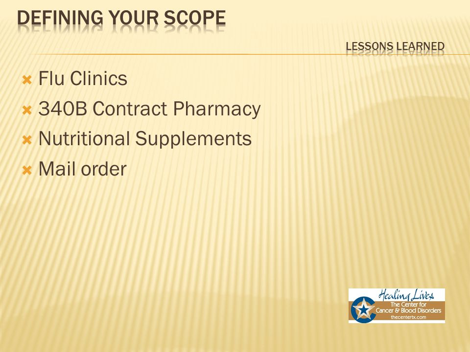  Flu Clinics  340B Contract Pharmacy  Nutritional Supplements  Mail order