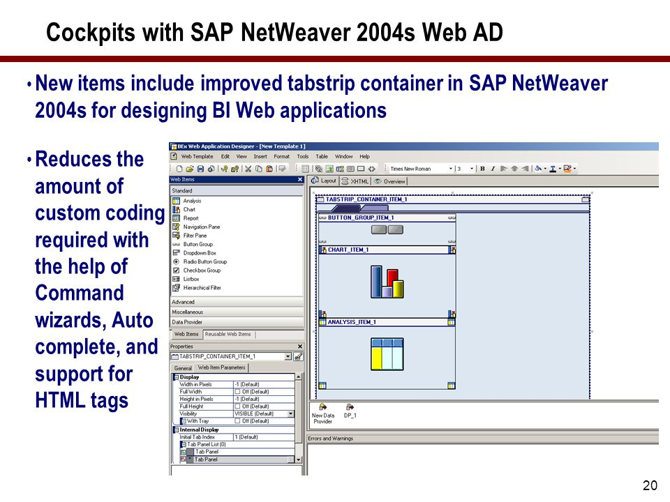 20 Cockpits with SAP NetWeaver 2004s Web AD New items include improved tabstrip container in SAP NetWeaver 2004s for designing BI Web applications Reduces the amount of custom coding required with the help of Command wizards, Auto complete, and support for HTML tags