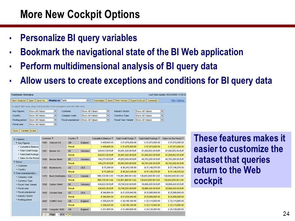 24 More New Cockpit Options Personalize BI query variables Bookmark the navigational state of the BI Web application Perform multidimensional analysis of BI query data Allow users to create exceptions and conditions for BI query data These features makes it easier to customize the dataset that queries return to the Web cockpit