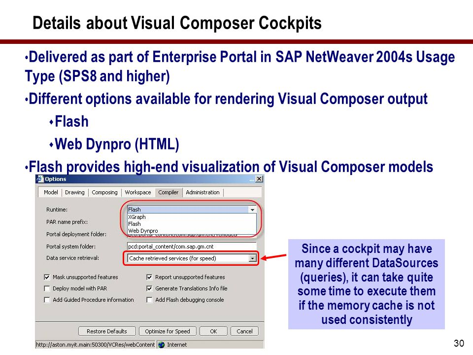 30 Details about Visual Composer Cockpits Delivered as part of Enterprise Portal in SAP NetWeaver 2004s Usage Type (SPS8 and higher) Different options available for rendering Visual Composer output  Flash  Web Dynpro (HTML) Flash provides high-end visualization of Visual Composer models Since a cockpit may have many different DataSources (queries), it can take quite some time to execute them if the memory cache is not used consistently
