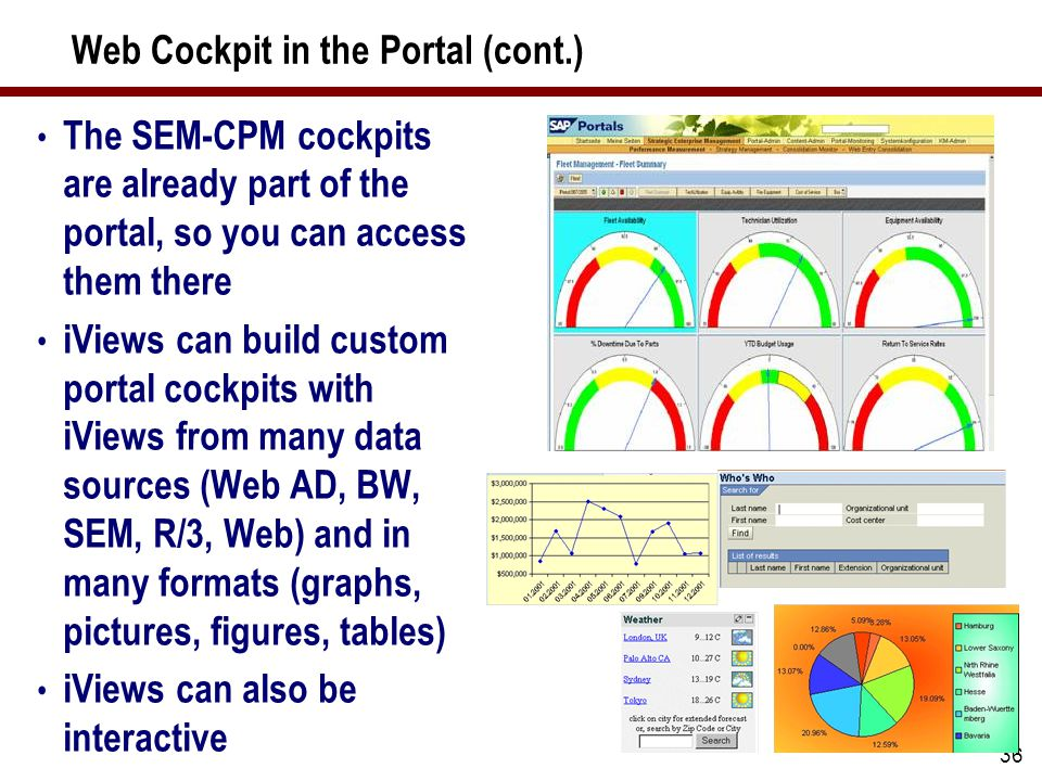 36 Web Cockpit in the Portal (cont.) The SEM-CPM cockpits are already part of the portal, so you can access them there iViews can build custom portal cockpits with iViews from many data sources (Web AD, BW, SEM, R/3, Web) and in many formats (graphs, pictures, figures, tables) iViews can also be interactive