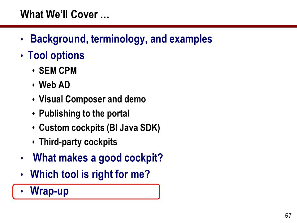 57 What We'll Cover … Background, terminology, and examples Tool options  SEM CPM  Web AD  Visual Composer and demo  Publishing to the portal  Custom cockpits (BI Java SDK)  Third-party cockpits What makes a good cockpit.