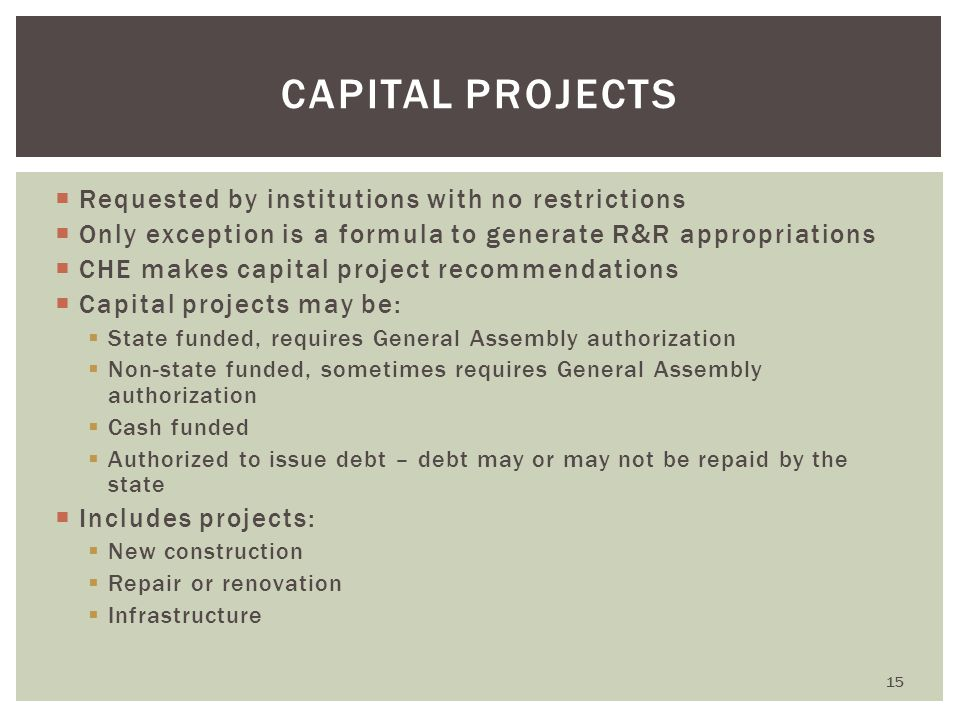  Requested by institutions with no restrictions  Only exception is a formula to generate R&R appropriations  CHE makes capital project recommendati
