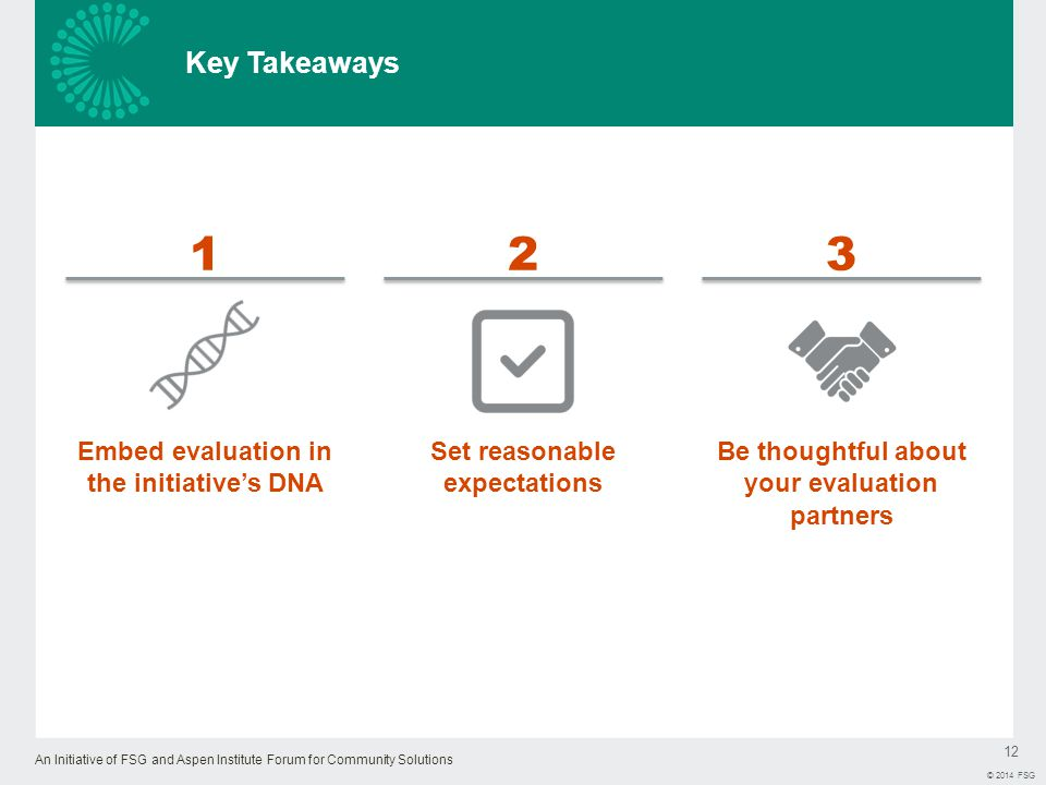 An Initiative of FSG and Aspen Institute Forum for Community Solutions 12 © 2014 FSG Key Takeaways Embed evaluation in the initiative's DNA 1 Set reasonable expectations 2 Be thoughtful about your evaluation partners 3