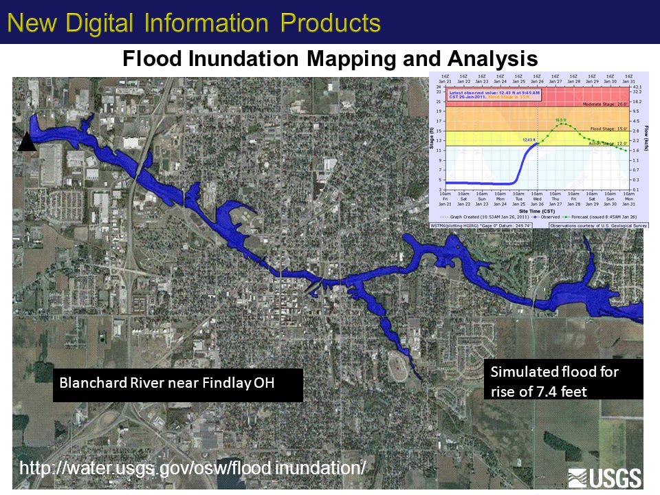 Flood Inundation Mapping and Analysis Simulated flood for rise of 7.4 feet Blanchard River near Findlay OH http://water.usgs.gov/osw/flood inundation/