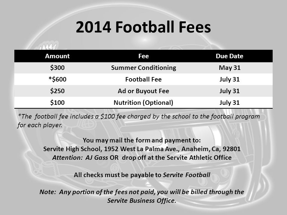 2014 Football Fees AmountFeeDue Date $300Summer ConditioningMay 31 *$600Football FeeJuly 31 $250Ad or Buyout FeeJuly 31 $100Nutrition (Optional)July 3