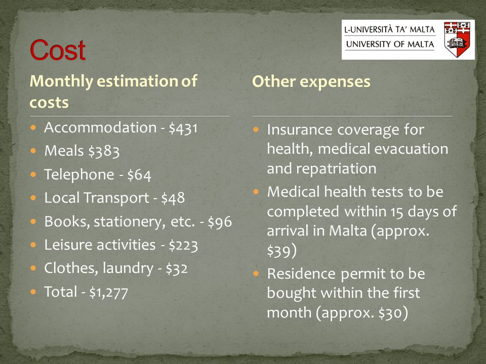 Monthly estimation of costs Accommodation - $431 Meals $383 Telephone - $64 Local Transport - $48 Books, stationery, etc.