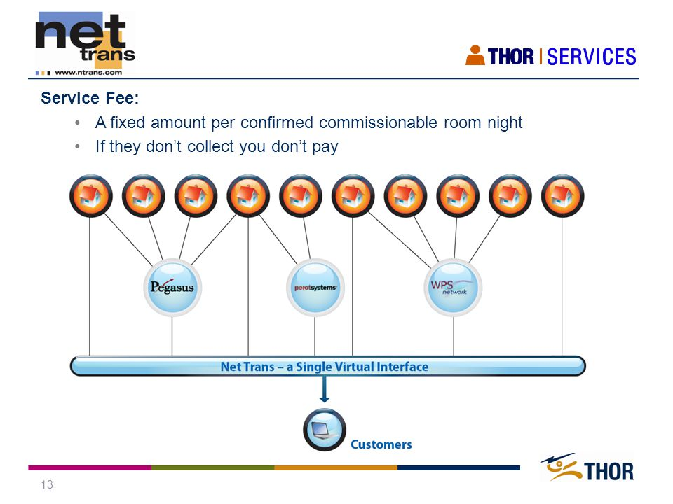 13 Service Fee: A fixed amount per confirmed commissionable room night If they don't collect you don't pay
