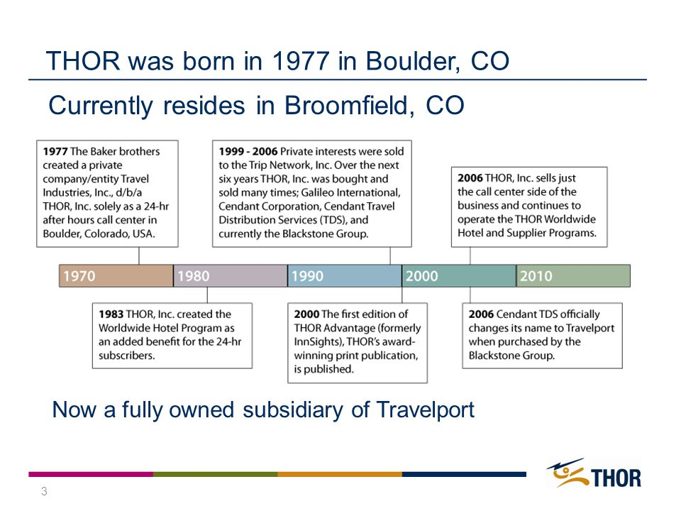 3 THOR was born in 1977 in Boulder, CO Currently resides in Broomfield, CO Now a fully owned subsidiary of Travelport