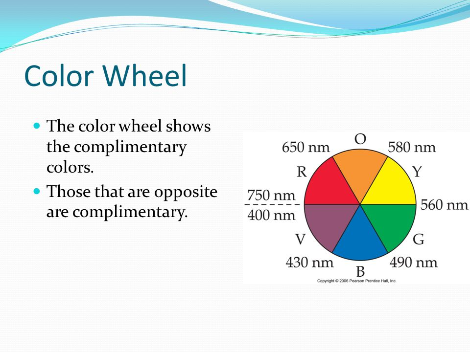 Color Wheel The color wheel shows the complimentary colors. Those that are opposite are complimentary.