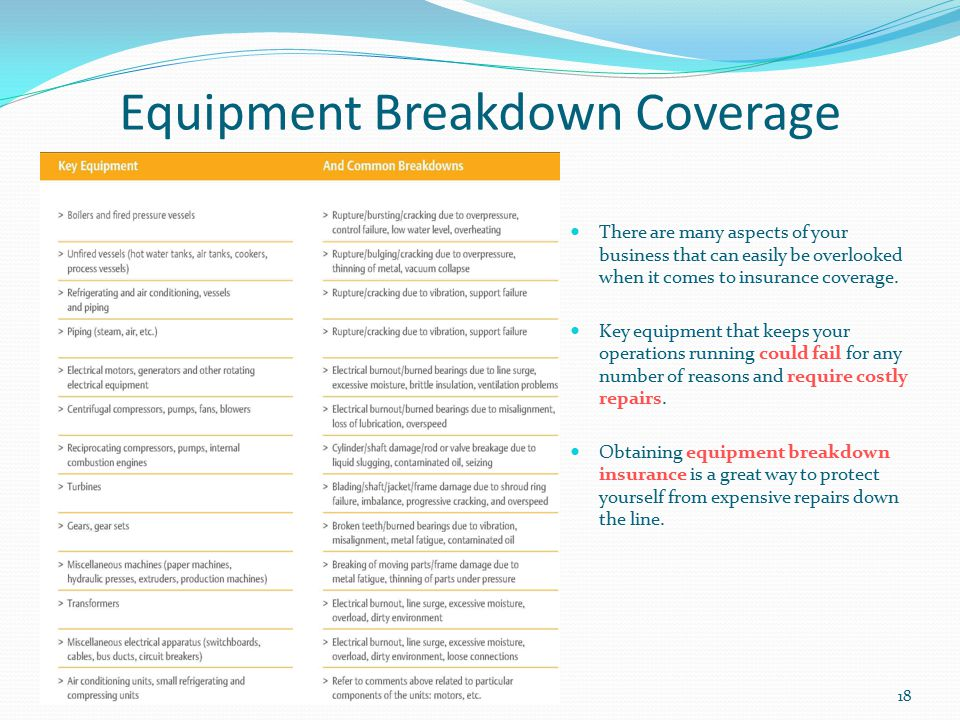 Equipment Breakdown Coverage There are many aspects of your business that can easily be overlooked when it comes to insurance coverage. Key equipment