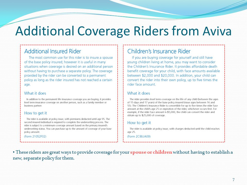 Additional Coverage Riders from Aviva These riders are great ways to provide coverage for your spouse or children without having to establish a new, s