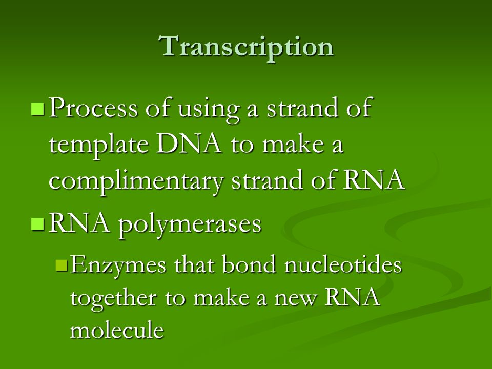 Transcription Process of using a strand of template DNA to make a complimentary strand of RNA Process of using a strand of template DNA to make a complimentary strand of RNA RNA polymerases RNA polymerases Enzymes that bond nucleotides together to make a new RNA molecule Enzymes that bond nucleotides together to make a new RNA molecule