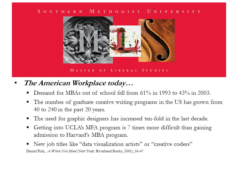 The American Workplace today…  Demand for MBAs out of school fell from 61% in 1993 to 43% in 2003.  The number of graduate creative writing programs